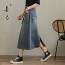 skirt Spring 2021 S,M,L,XL,2XL,3XL Denim blue Mid length dress commute High waist A-line skirt Solid color Type A 35-39 years old SC5230 More than 95% Denim Be good to yourself cotton pocket Simplicity