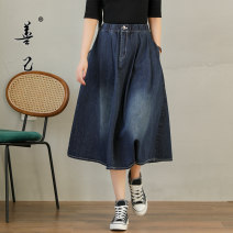 skirt Spring 2021 M,L,XL,2XL Denim blue longuette commute High waist A-line skirt Solid color Type A 35-39 years old SC5169 81% (inclusive) - 90% (inclusive) Denim Be good to yourself cotton Folds, pockets Simplicity