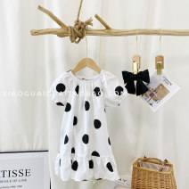 Dress white female Other / other The recommended height is 95cm-100cm for size 7, 100cm-105cm for size 9, 105cm-115cm for size 11, 115cm-120cm for size 13 and 120cm-130cm for size 15 Other 100% summer Korean version Short sleeve Wave point other A-line skirt G2179 Chinese Mainland