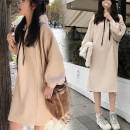 Dress Autumn of 2019 S,M,L,XL,2XL,3XL longuette singleton  Long sleeves commute Hood Loose waist Solid color Socket bishop sleeve 25-29 years old Type H Korean version thread More than 95% cotton