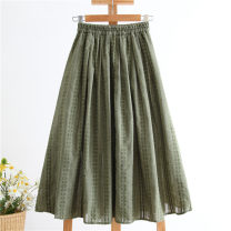 skirt Spring 2020 XS,S,M,L,XL,2XL blackish green Mid length dress Versatile Natural waist Pleated skirt stripe Type A