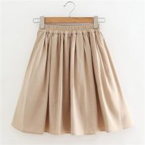 skirt Spring 2021 S,M,L,XL,2XL Apricot Short skirt Versatile Natural waist Pleated skirt Solid color Type A 18-24 years old
