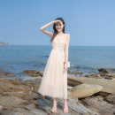 Dress Summer 2020 Apricot XS,S,M,L Mid length dress singleton  Sleeveless commute One word collar High waist Solid color zipper A-line skirt other camisole 18-24 years old Type A Tagkita / she and others lady 51% (inclusive) - 70% (inclusive) other other
