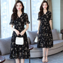 Dress Summer 2020 Black flowers S,XL,2XL,3XL,4XL,5XL,L,M Mid length dress singleton  Short sleeve Sweet Doll Collar High waist Decor Socket A-line skirt Lotus leaf sleeve Others 18-24 years old Type A printing Chiffon polyester fiber
