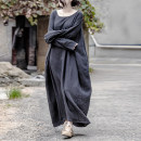 Dress Spring 2017 Black grey, jujube, Navy Large size longuette singleton  Long sleeves commute Crew neck Loose waist Solid color Socket Big swing routine Others Type A literature Fold, make old Y_ H080603 71% (inclusive) - 80% (inclusive) cotton