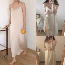 Dress Summer of 2019 Black, beige Average size longuette singleton  commute V-neck High waist Solid color Socket camisole 18-24 years old Type H Korean version
