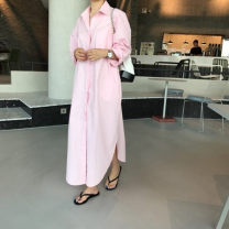 shirt Pink Average size Spring of 2019 other 31% (inclusive) - 50% (inclusive) Nine point sleeve commute Medium length Polo collar Single row multi button routine Solid color Straight cylinder Korean version Button