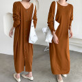 Dress Spring 2021 Khaki, black, beige Average size longuette singleton  Long sleeves commute Crew neck High waist Solid color Single breasted other routine 18-24 years old Type H Korean version Button, button 51% (inclusive) - 70% (inclusive) other