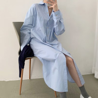 Dress Autumn 2020 White, blue S,M,L,XL,2XL Mid length dress singleton  Long sleeves commute Polo collar High waist Solid color Single breasted shirt sleeve Others Type H Korean version Pockets, panels, buttons 81% (inclusive) - 90% (inclusive)