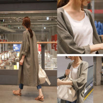 Dress Summer of 2019 Khaki, Navy, green S,M,L,XL,2XL longuette singleton  Long sleeves commute V-neck High waist Solid color other A-line skirt routine Others 18-24 years old Type A Korean version 51% (inclusive) - 70% (inclusive)