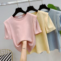 T-shirt Light yellow, light blue, light orange pink Average size Summer 2021 Short sleeve Crew neck easy Regular routine commute cotton 96% and above 25-29 years old Korean version originality Plants and flowers, solid color printing