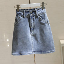 skirt Spring 2021 S,M,L,XL Blue, black Middle-skirt commute High waist A-line skirt Solid color Type A 25-29 years old More than 95% Denim cotton pocket