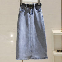 skirt Spring 2021 S,M,L,XL blue Middle-skirt commute High waist Denim skirt Solid color Type A 25-29 years old More than 95% Denim other pocket Korean version