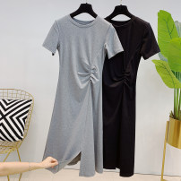 Dress Summer 2021 Dark grey, black M, L singleton  Short sleeve commute V-neck High waist Solid color Single breasted routine 25-29 years old More than 95% other cotton
