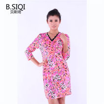 Dress Spring of 2018 White yellow flower, rose pink flower 160/84A,165/88A,165/92A,170/96A,170/100A Mid length dress singleton  Nine point sleeve commute V-neck High waist zipper One pace skirt routine 35-39 years old Type X B. Siqi beisiqi Simplicity QX418LQ 81% (inclusive) - 90% (inclusive) Chiffon
