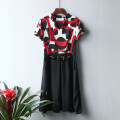 Dress Summer of 2019 Picture color 38,40,42,44 Mid length dress singleton  Short sleeve commute V-neck High waist Abstract pattern Socket A-line skirt 25-29 years old Type A Korean version