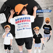 T-shirt White, black, white pre-sale, black pre-sale Small die 80cm,90cm,100cm,110cm,120cm,130cm,140cm male summer V-neck leisure time There are models in the real shooting nothing Cotton blended fabric other Other 100% X2702 Chinese Mainland