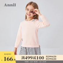 Dress New year red cream powder female Annil / anel 110cm 120cm 130cm 140cm 150cm 160cm Cotton 94.2% polyurethane elastic fiber (spandex) 5.8% spring and autumn leisure time Long sleeves Cotton blended fabric Splicing style AG013502 Autumn 2020 Chinese Mainland Guangdong Province Dongguan City