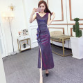 Dress Summer of 2019 Purple, blue, black, silver S,M,L longuette singleton  Sleeveless commute V-neck middle-waisted Solid color zipper One pace skirt 18-24 years old Other / other Korean version Lotus leaf edge