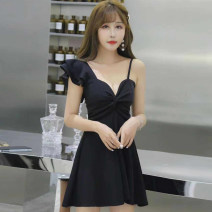Dress Summer of 2019 black S,M,L Short skirt singleton  commute V-neck middle-waisted Solid color other A-line skirt routine camisole Type A Other / other Korean version fungus