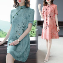 Dress Spring 2021 Pink, green M,L,XL,2XL,3XL longuette singleton  Short sleeve commute stand collar Loose waist Decor other A-line skirt routine Others 35-39 years old Type A ethnic style Print, button Spot 8720