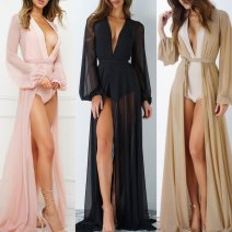 Lace / Chiffon Winter 2016 Khaki, black, pink S/M,L/XL Cardigan 1120 CAPE DRESS polyester fiber