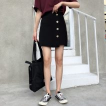 skirt Spring 2021 S,M,L black Short skirt Versatile High waist A-line skirt Solid color Type A 18-24 years old 30% and below polyester fiber 401g / m ^ 2 (inclusive) - 500g / m ^ 2 (inclusive)