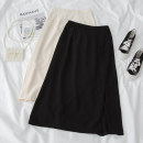 skirt Spring 2021 S,M,L,XL Black standard, apricot standard Mid length dress commute High waist A-line skirt Solid color Type A 18-24 years old 71% (inclusive) - 80% (inclusive) polyester fiber