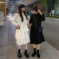 Dress Spring 2021 Black, white Average size Short skirt singleton  Nine point sleeve commute Doll Collar middle-waisted Single breasted Ruffle Skirt other Others 18-24 years old Type A Other / other Korean version Lotus leaf edge 51% (inclusive) - 70% (inclusive) other polyester fiber