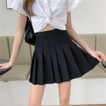 skirt Spring 2021 S,M,L,XL Gray, white, blue, black Short skirt commute High waist Pleated skirt Solid color Type A 18-24 years old 51% (inclusive) - 70% (inclusive) Wool polyester fiber fold Korean version