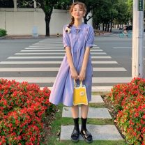 Dress Spring 2021 Average size Mid length dress singleton  Short sleeve Sweet stand collar Loose waist Solid color Socket A-line skirt routine 18-24 years old Type A Fold, lace up 31% (inclusive) - 50% (inclusive) brocade cotton college