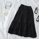 skirt Spring 2021 Average size Black, white Mid length dress commute High waist Ruffle Skirt Solid color Type A 18-24 years old 71% (inclusive) - 80% (inclusive) polyester fiber Fold, splice Korean version