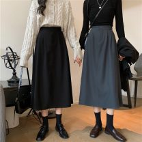 skirt Spring 2021 Average size Grey, black, brown Mid length dress commute High waist A-line skirt Solid color Type A 18-24 years old 51% (inclusive) - 70% (inclusive) polyester fiber Korean version