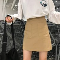 skirt Spring 2021 S,M,L Khaki, black Short skirt Versatile High waist A-line skirt Solid color Type A 18-24 years old 31% (inclusive) - 50% (inclusive) polyester fiber 401g / m ^ 2 (inclusive) - 500g / m ^ 2 (inclusive)