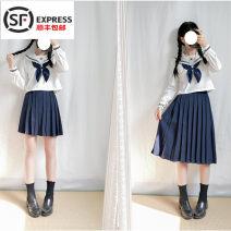 student uniforms Spring 2018, summer 2018, autumn 2018 S,M,L,XL,XXL Short sleeve solar system skirt Xiaojin polyester White collar Lapel blue