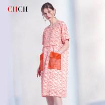 Dress Summer 2020 orange S M Mid length dress singleton  Short sleeve commute Crew neck Loose waist Decor Socket routine 25-29 years old Type H Chch / pray printing WCJ1A6378041 71% (inclusive) - 80% (inclusive) hemp Ramie 75% Lyocell fiber (Lyocell) 25%