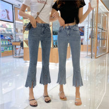 Jeans Spring 2020 S [90-100 kg], m [100-110 kg], l [110-120 kg], XL [120-135 kg], 2XL [135-150 Jin], 3XL [150-165 kg], 4XL [165-175 Jin], 5XL [175-200 Jin] Ninth pants High waist Flared trousers routine 18-24 years old Cotton elastic denim light colour JSWETR 71% (inclusive) - 80% (inclusive)