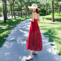 Dress Summer of 2019 Red, white, black XS,S,M,L,XL longuette singleton  Sleeveless Sweet V-neck High waist Solid color zipper Big swing other camisole Type A Backless, pleated, stitched, zipper 81% (inclusive) - 90% (inclusive) Chiffon polyester fiber Bohemia