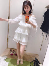 Lace / Chiffon Summer of 2019 White top with shorts, white top Average size