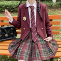 student uniforms Spring 2021 Long sleeve shirt + Hawthorn plaid skirt + tie, long sleeve shirt + Hawthorn plaid skirt + hand tie S,M,L,XL Long sleeves solar system skirt 18-25 years old polyester fiber