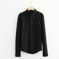 T-shirt 1 # black block a-6-17-1, 2 # pure black a-6-17-1 M,L,XL,2XL Summer 2020 Long sleeves square neck Self cultivation Regular routine commute other 51% (inclusive) - 70% (inclusive) Solid color Lady Boya Button