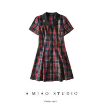 Dress Summer 2020 As shown in the figure S,M,L Short skirt singleton  Short sleeve commute High waist lattice Single breasted routine Retro 71% (inclusive) - 80% (inclusive)