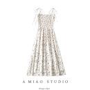 Dress Summer 2021 As shown in the figure S,M,L longuette singleton  Short sleeve Sweet High waist Broken flowers camisole 71% (inclusive) - 80% (inclusive)