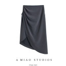 skirt Autumn of 2019 S,M,L Gray, black Mid length dress High waist Solid color 71% (inclusive) - 80% (inclusive)