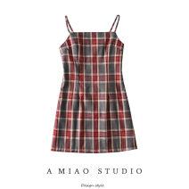 Dress Summer 2020 As shown in the figure S,M,L Short skirt singleton  commute High waist lattice camisole Retro 71% (inclusive) - 80% (inclusive)
