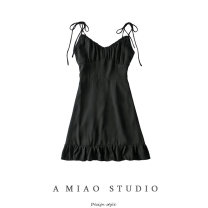 Dress Summer 2020 black S,M,L Short skirt singleton  street V-neck High waist Solid color camisole 71% (inclusive) - 80% (inclusive) Europe and America