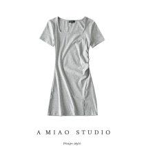 Dress Summer 2020 Gray, red, black S, M Short skirt singleton  Short sleeve square neck High waist Solid color other
