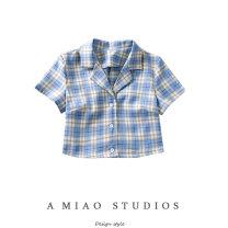 shirt S,M,L Summer 2020 other 71% (inclusive) - 80% (inclusive) Short sleeve commute Short style (40cm < length ≤ 50cm) tailored collar Single row multi button routine lattice
