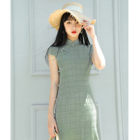 cheongsam Summer of 2019 M L XL XXL 3XL S Grey green eight button Short sleeve long cheongsam Retro High slit daily Oblique lapel lattice 18-25 years old MSY-227 Mesryou other Other 100% Pure e-commerce (online only)