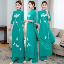 Dress Spring 2021 Green, up 160 yuan immediately! S. M, l, XL, 2XL, 3XL, 4XL, 5XL, quality goods in stock longuette Two piece set three quarter sleeve commute stand collar middle-waisted Hand painted Socket A-line skirt raglan sleeve Others 25-29 years old Type H Tagkita / she and others ethnic style